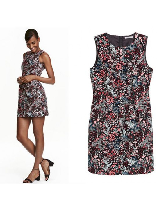 NEW H&M WOMEN'S JACQUARD WEAVE DRESS | FLORAL