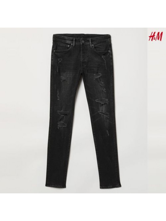 NEW H&M MEN'S SKINNY LOW WAIST JEAN| BLACK